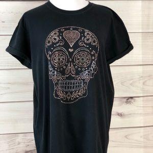 T shirt black embellished short sleeves NWOT